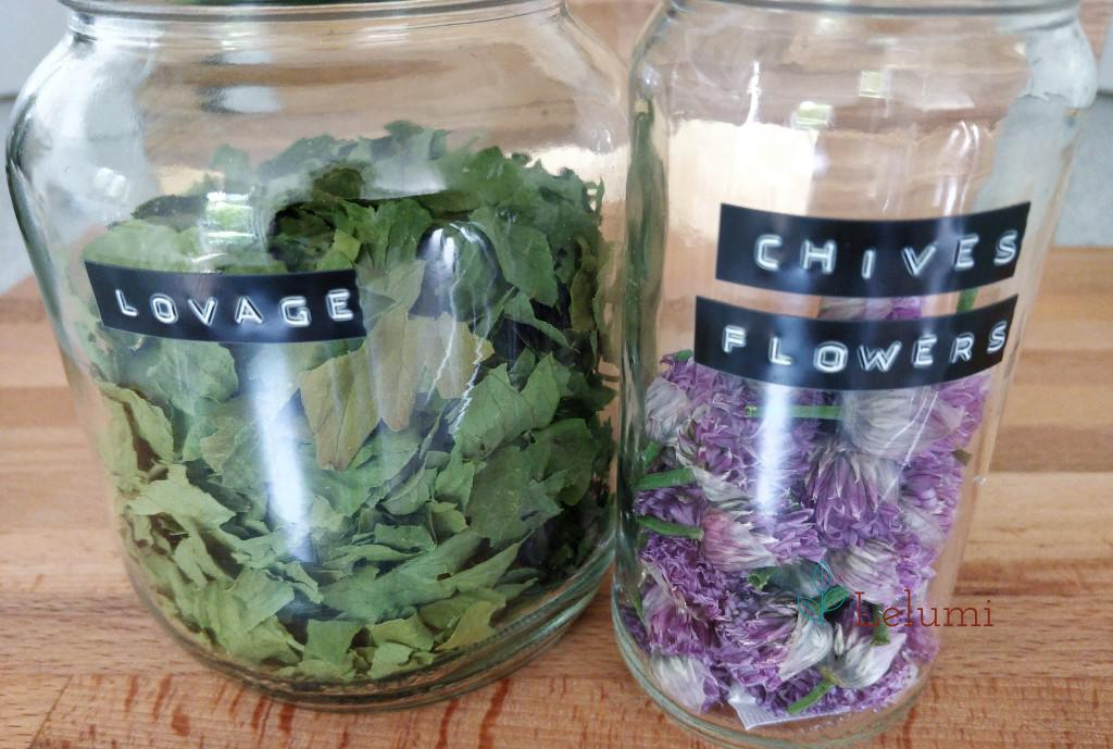 Labelled jars with home-dehydrated herbs